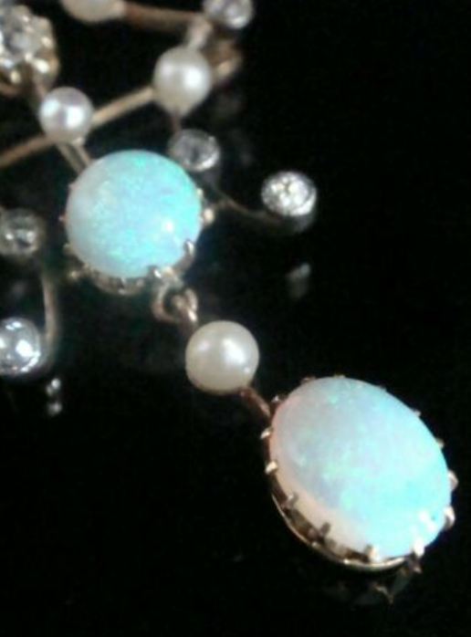 Image of VICTORIAN ORIGINAL 18CT NATURAL SOLID OPAL DIAMOND AND PEARL PENDANT BROOCH