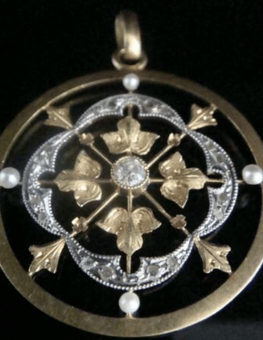 Image of EDWARDIAN ORIGINAL 18CT FRENCH ROSE CUT DIAMOND PEARL PENDANT
