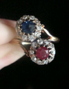 EDWARDIAN 18CT YELLOW GOLD SAPPHIRE RUBY OLD CUT DIAMOND TOI ET MOI CLUSTER RING