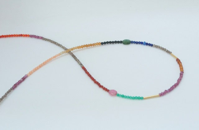Image of Rainbow semi-precious beads & solid gold necklace