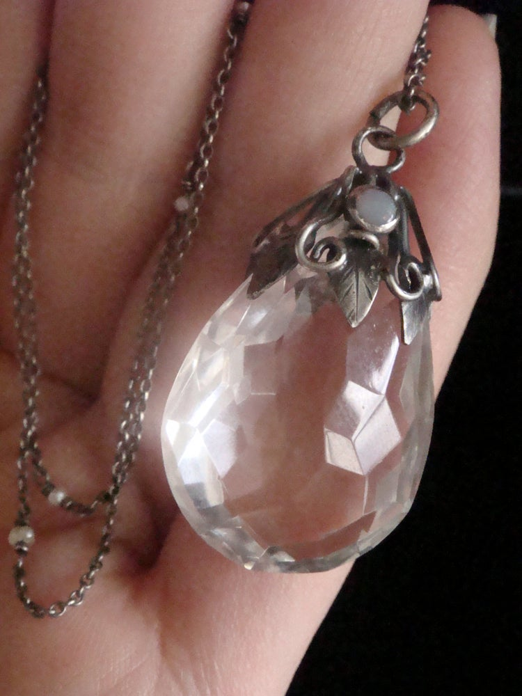 Image of Art Nouveau silver large rock crystal and opal drop with original pearl chain