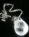 Art Nouveau silver large rock crystal and opal drop with original pearl chain