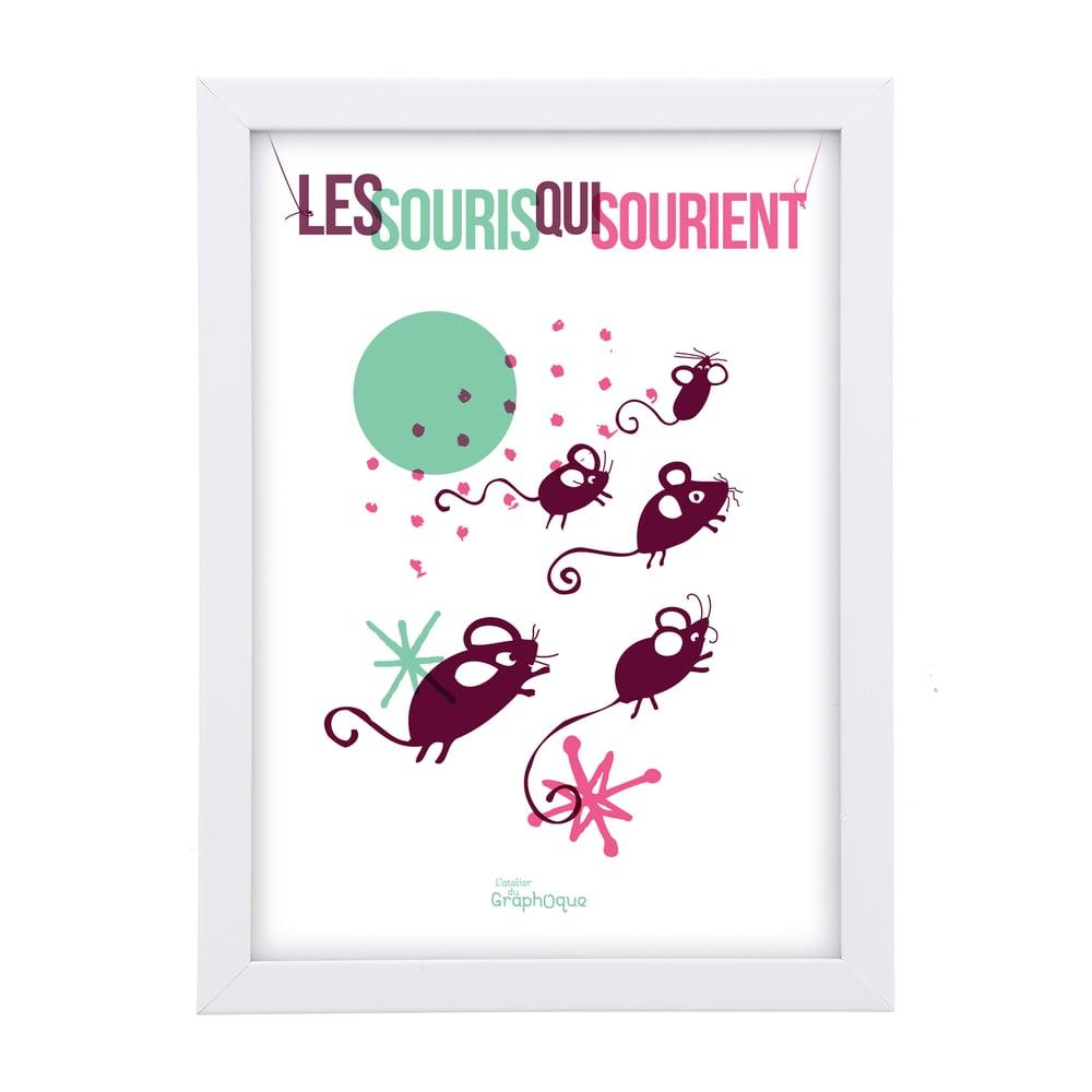 Image of Petit cadre déco - Les souris qui sourient