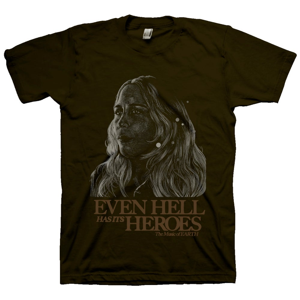 """Image of Brown Adrienne Davies """"Even Hell has its Heroes"""" T-Shirt"""