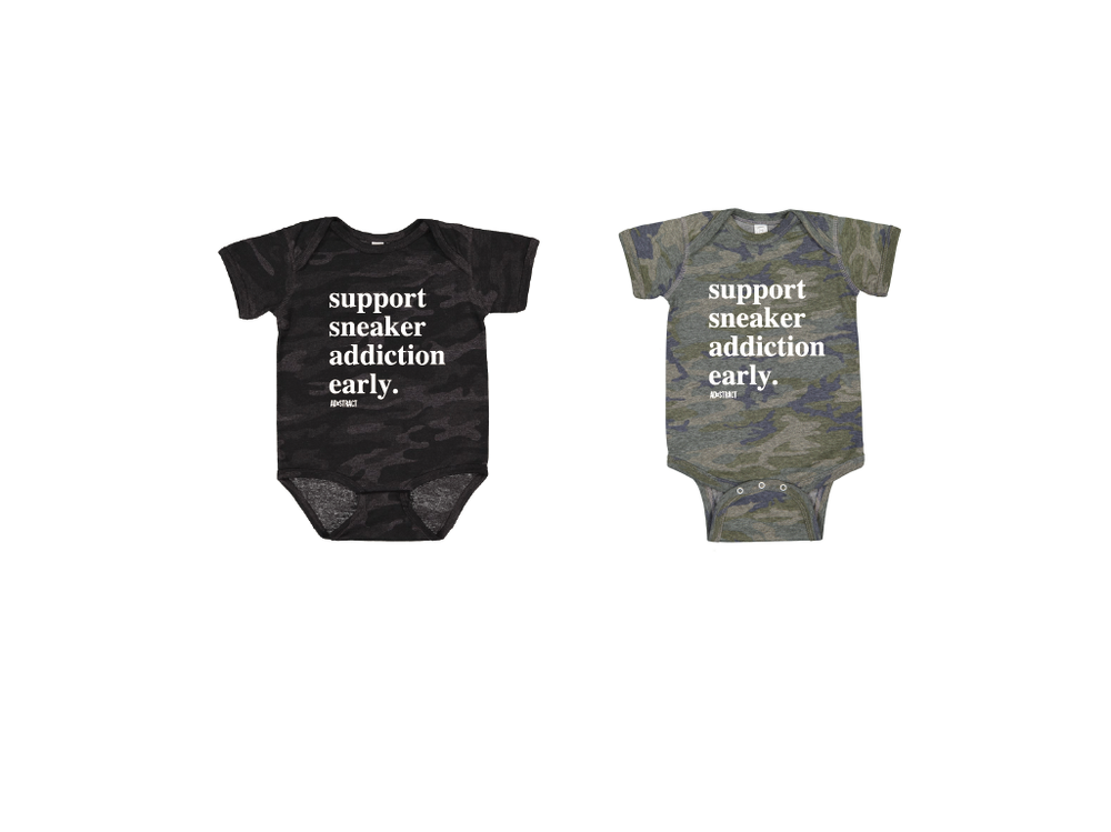 SUPPORT SNEAKER ADDICTION EARLY INFANT ONESIES