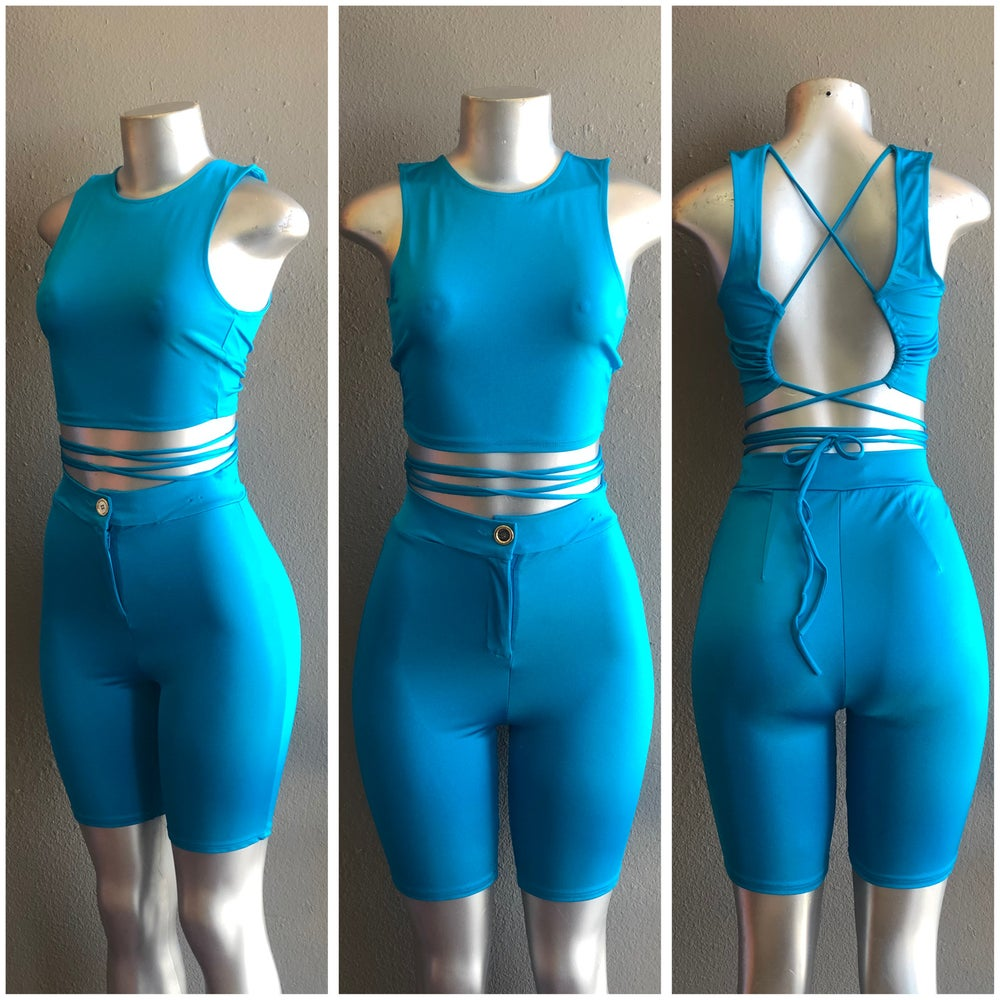 """Image of #1063 TEAL """"ALL TIED UP"""" 2 PC SET"""