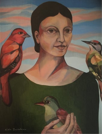 Image of Woman with Three Birds