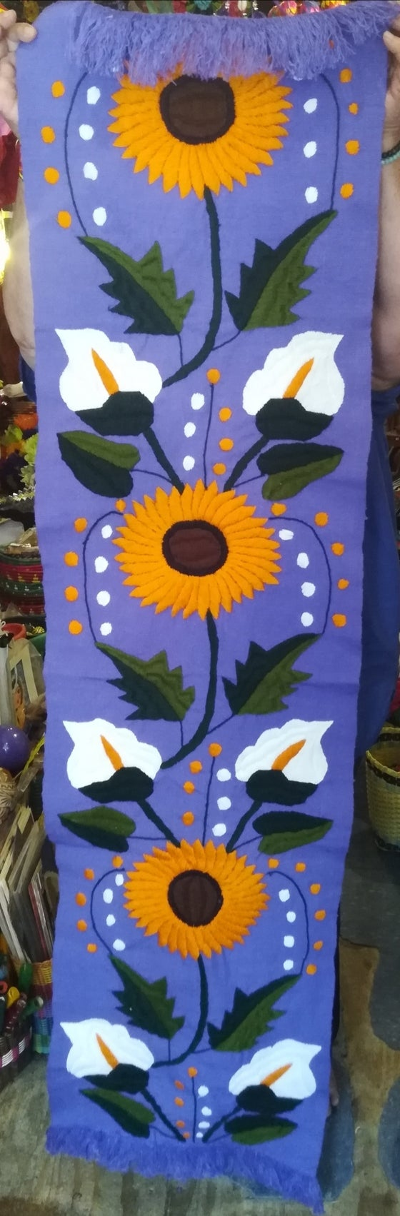 Image of Handmade, Hand Embroidered Mexican Table Runner