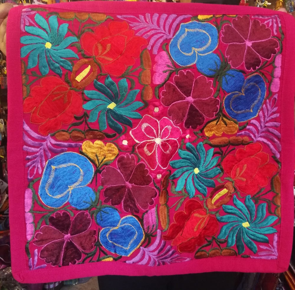 Image of Handmade Floral Embroidered Pillow Cover