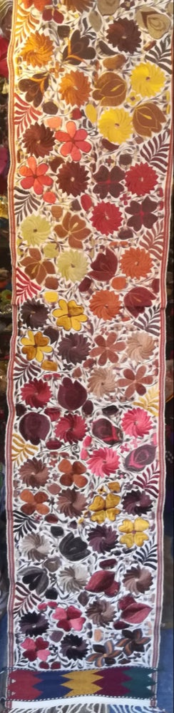 Image of Handmade Floral Embroidered 8 ft Mexican Table Runner
