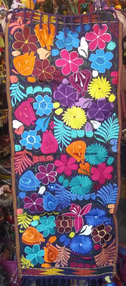 Image of Handmade Floral Embroidered 4 ft Mexican Table Runner