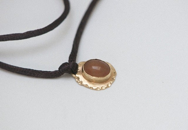 Image of Lila 9ct gold bezel pendant necklace and satin cord
