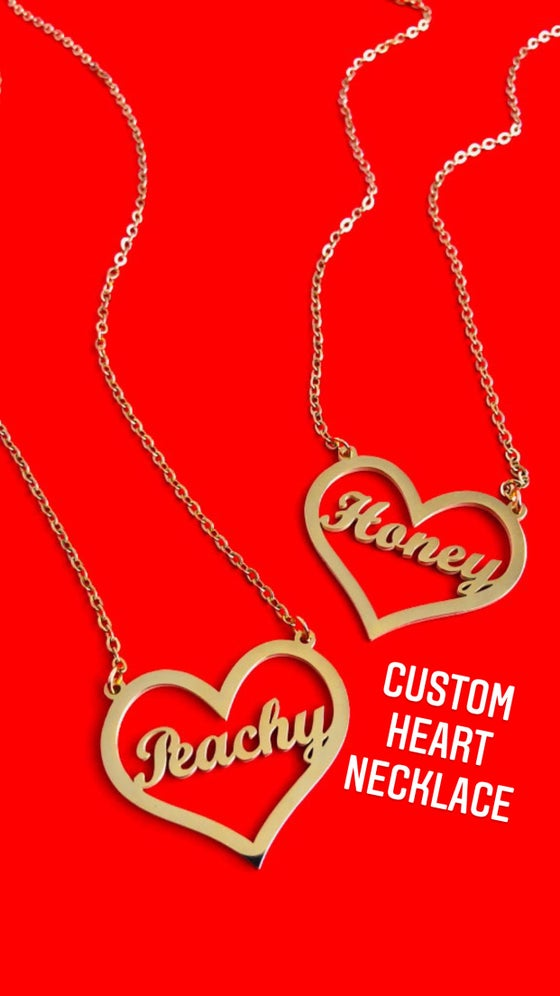 Image of HEART NAME / WORD PLATE NECKLACE