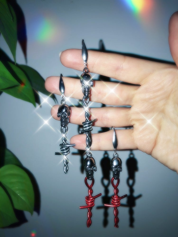 Image of SKULL BARBED WIRE DROP EARRINGS
