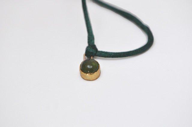 Image of Nora 18ct gold bezel pendant necklace and satin cord