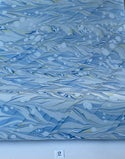 Marbled Paper Gouache Ripples on Azure Blue - 1/2 sheets