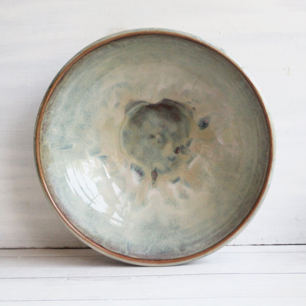 Image of Serving Bowl in Swirling Sage and Brown Glazes, Handcrafted Pottery Centerpiece, Made in USA
