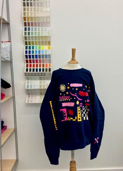 Image of Navy Printed Sweatshirt