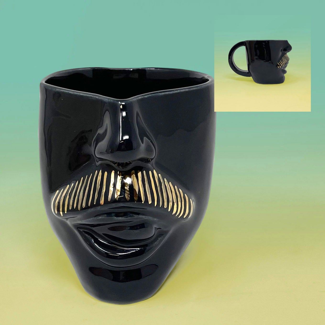 Image of Moustache Mugs (Tongue) with 22Kt Gold