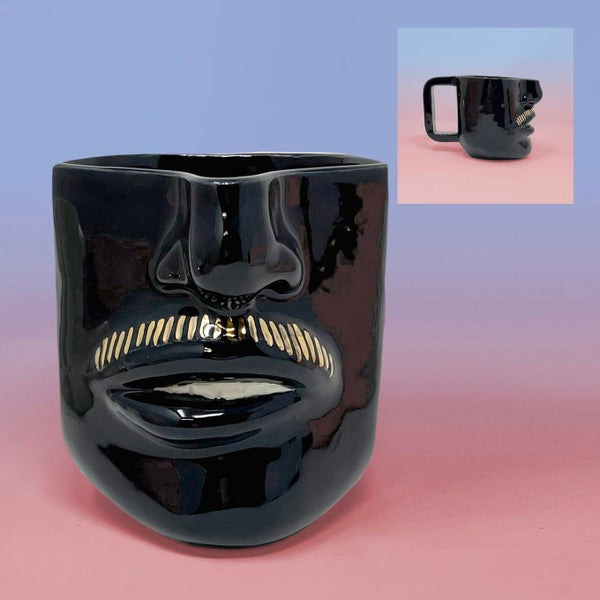Image of Moustache Mug (Teeth) with 22Kt Gold