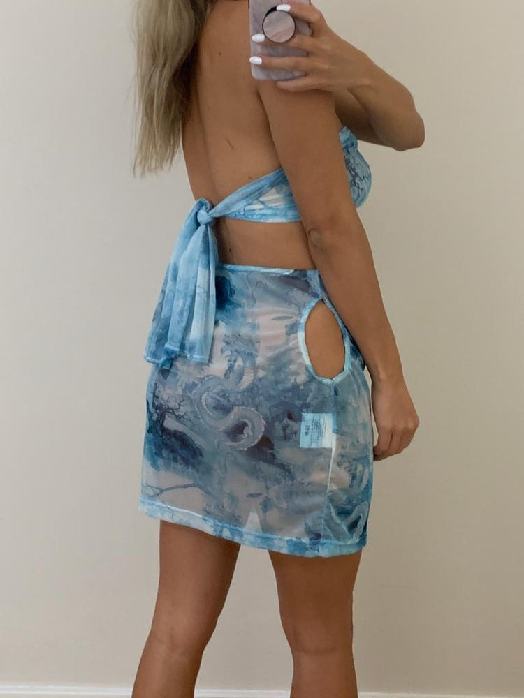 Image of Blue Dragon Mesh Chain Scarf Top & Skirt Co-Ord