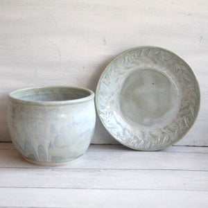 Image of Ceramic Planter with Matching Dish, Handmade Soft Sage Green Flower Pot Made in USA