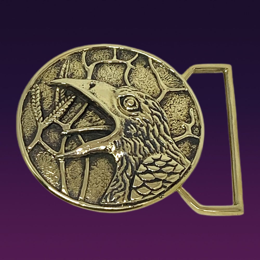 Image of The Raven Buckle Cast in Yellow Brass