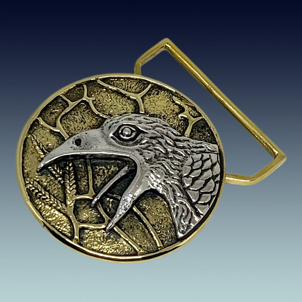 Image of The Raven Buckle Cast in Yellow Brass & Sterling Silver
