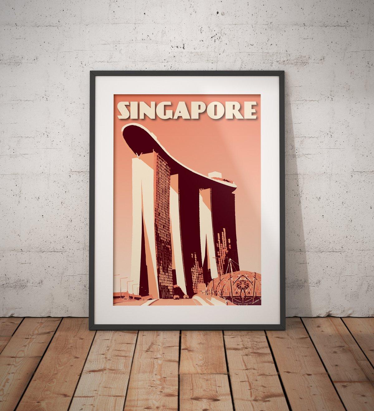 Image of Vintage poster Singapore - Marina Bay Sands - Coral - Fine Art Print