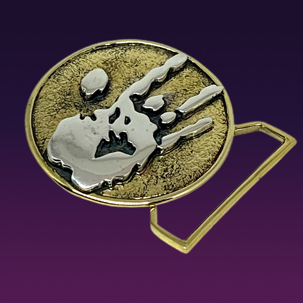 Image of Jerry Hand Print Belt buckle cast in Yellow Brass and Sterling Silver