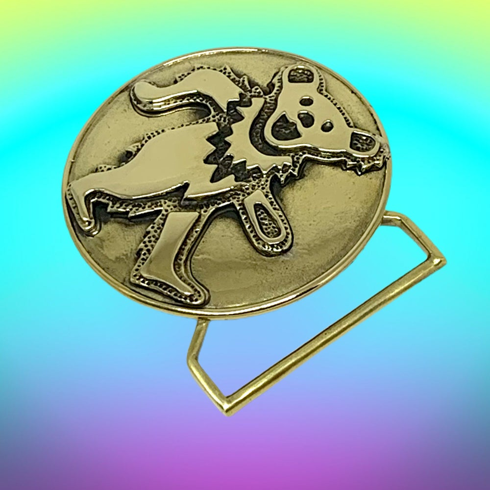 Image of Dancing Bear Buckle Cast in Yellow Brass