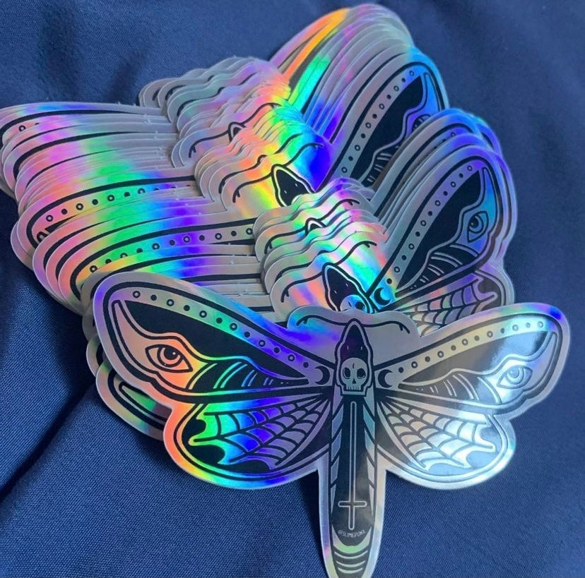 Image of Death Moth Holographic Sticker