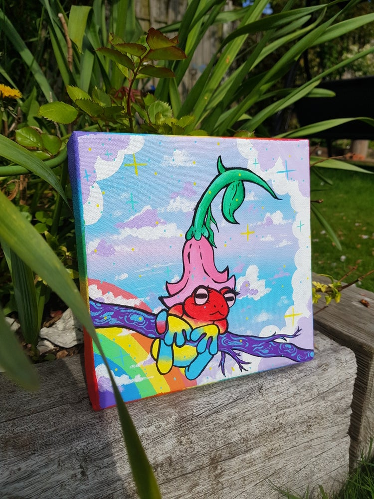 Image of Pansexual Pride Froggy Acrylic Painting