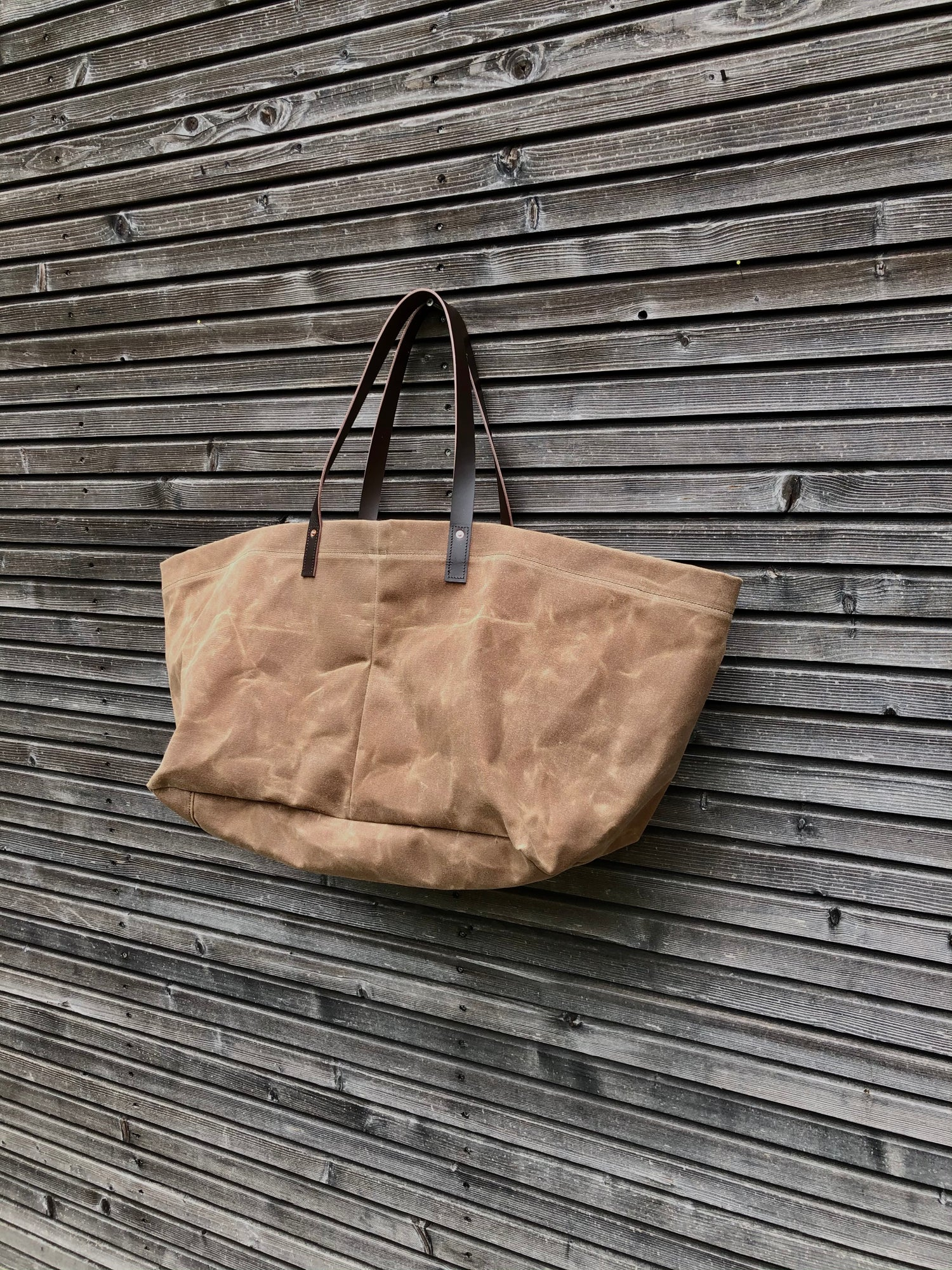 Image of XXL waxed canvas tote bag with leather handles / canvas market bag / carry all bag COLLECTION UNISEX