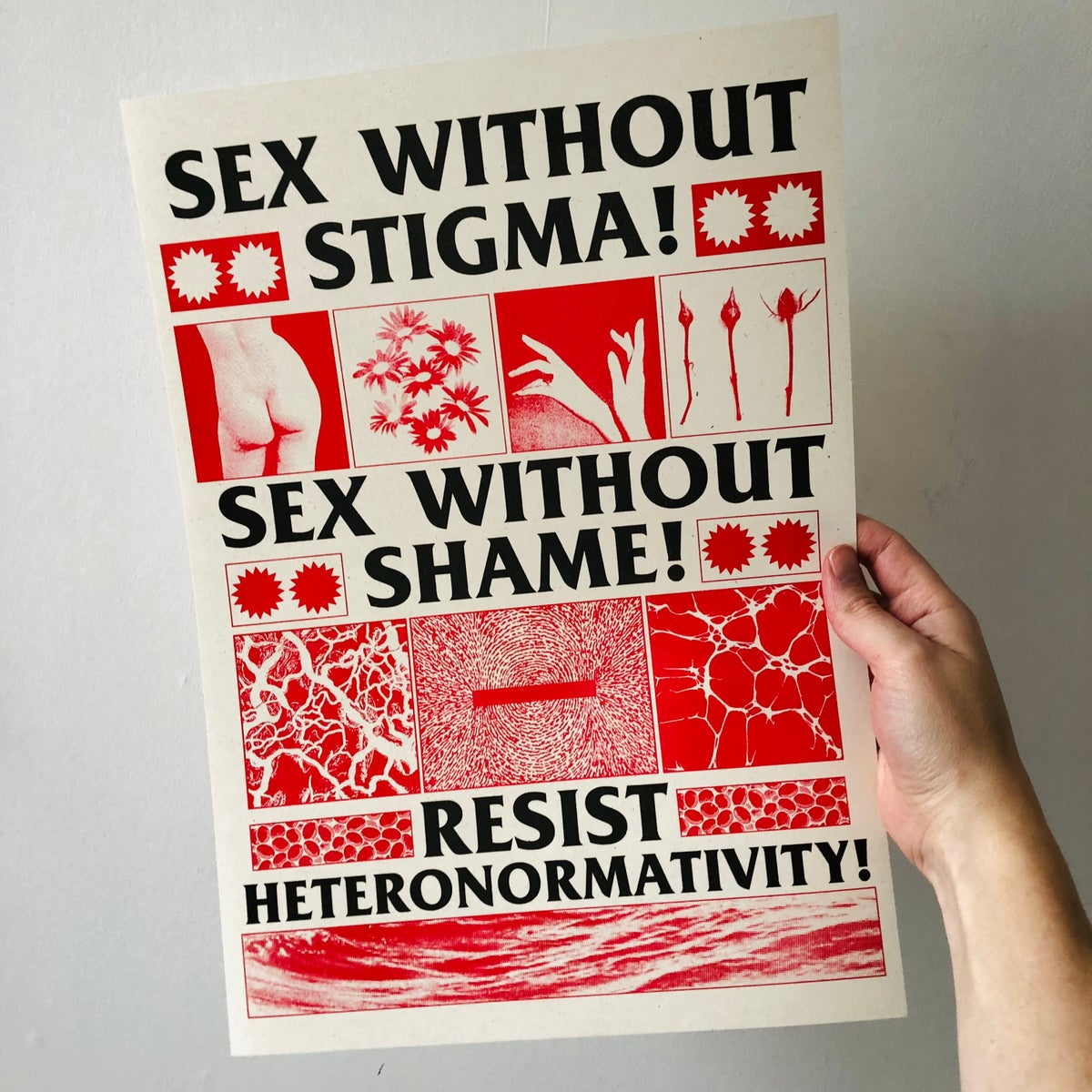 Image of Sex Without Stigma Sex Without Shame A3 riso print