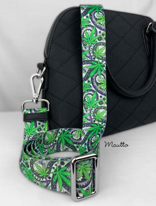 "Image of Cannabis/Hemp Leaf Strap for Bags - 1.5"" Wide Nylon - Adjustable Length - Tear Drop Shape #14 Hooks"