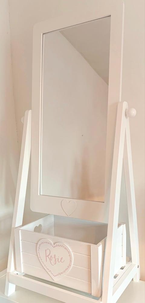 Image of Children's White Vanity Mirror & Personalised Storage Box
