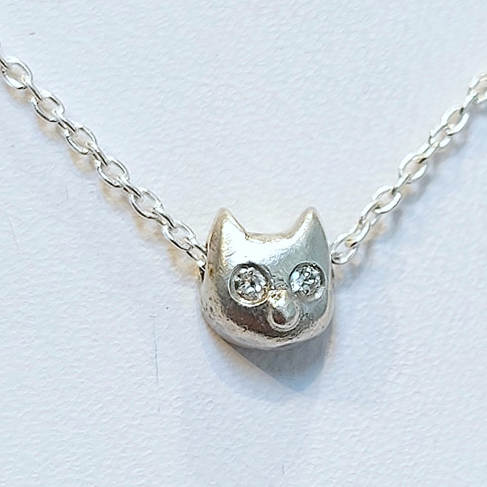 Image of Itty Bitty Sterling Kitty and Diamond Necklace