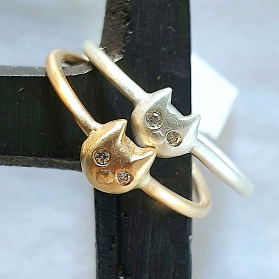 Image of Itty Bitty Kitty Silver and Gold Diamond Rings (sold separately)