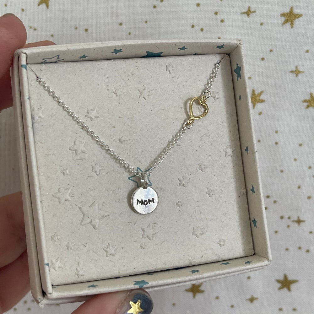 Image of circle charm and heart necklace