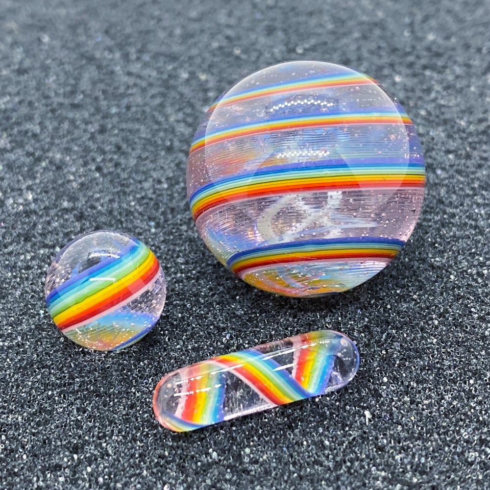 Image of Brian Sheridan Pink Rainbow Over Blue Slyme Marble Set
