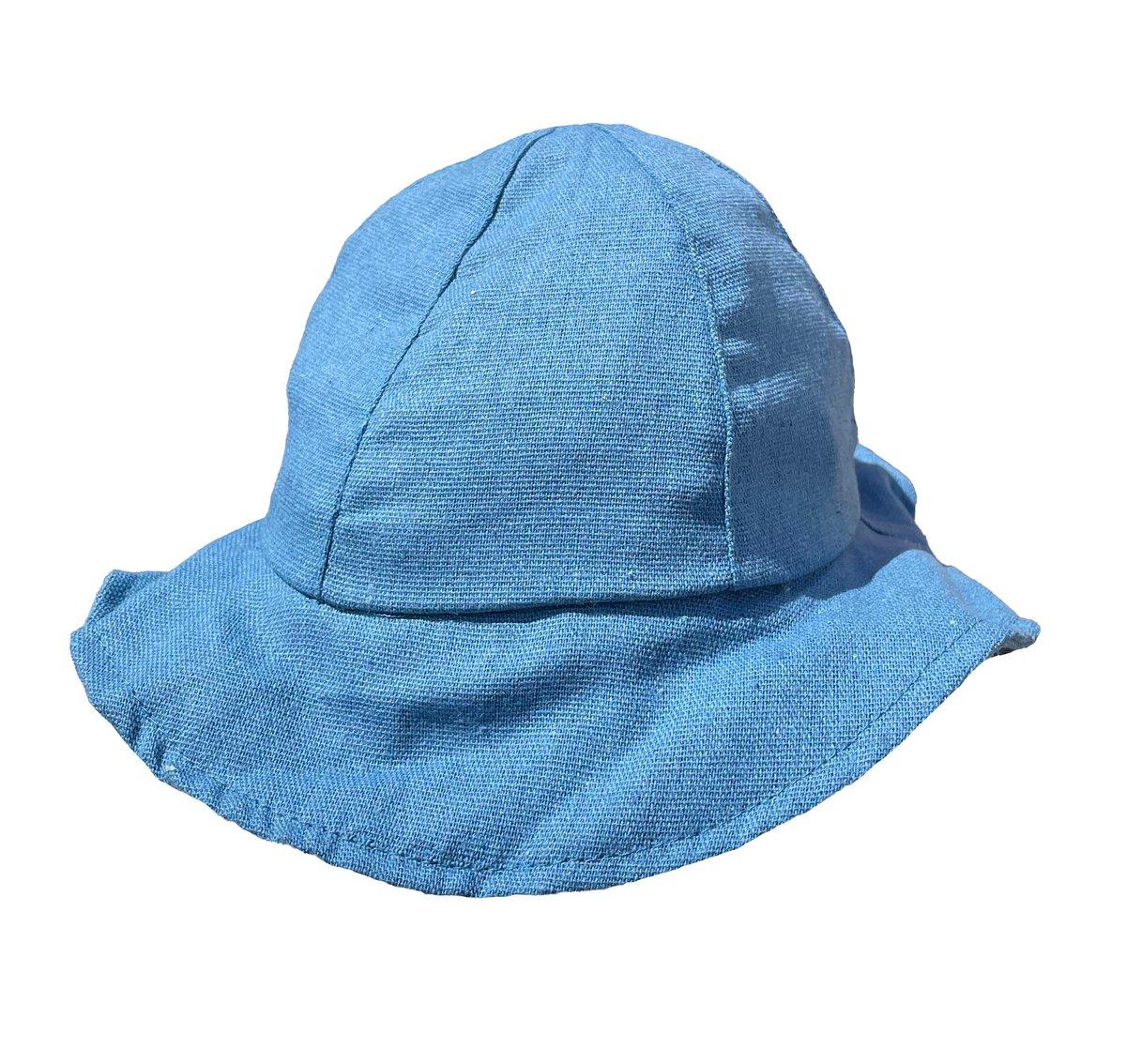 Image of Little linen bucket hat - Blue