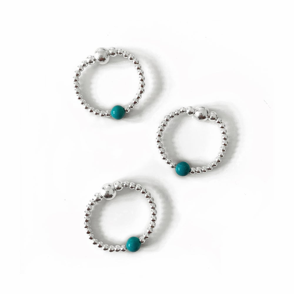 Image of Sterling Silver & Turquoise Bead Ring