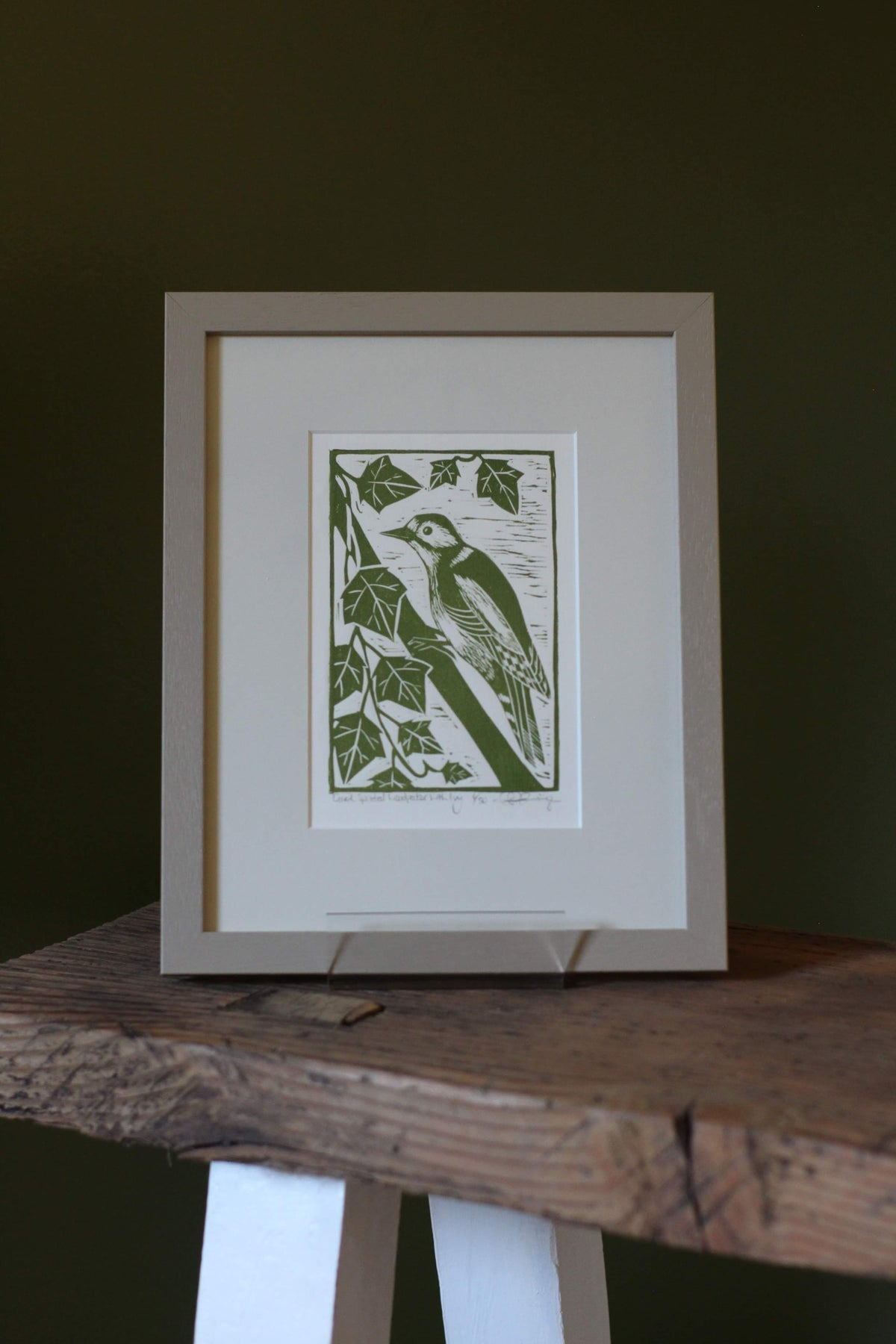 Image of Great spotted woodpecker framed in solid wood with conservation mount
