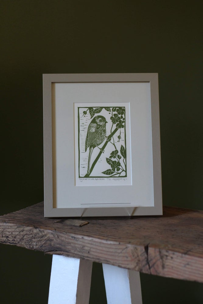 Image of Long tailed tit with apple blossom origonal linocut in frame