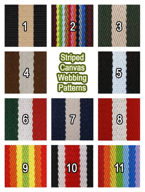 """Image of Striped Color Canvas Webbing Strap - Adjustable - 1.5"""" Wide - Choose Style, Length & Gold Finish #19"""