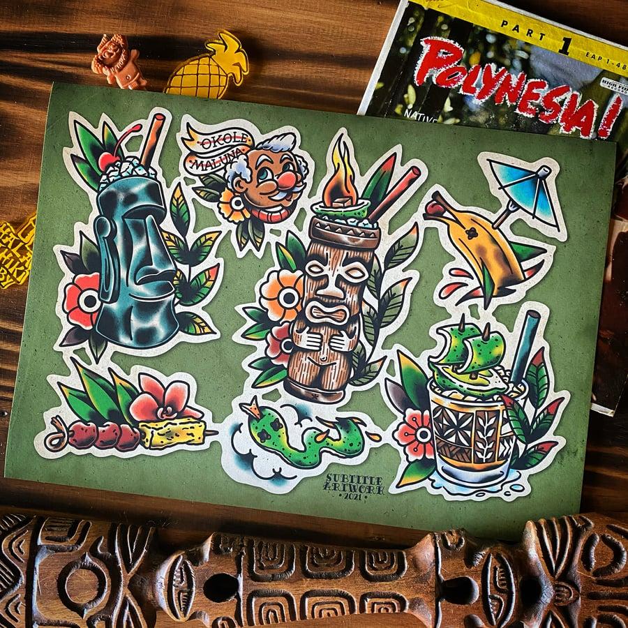 Image of Tiki Drinks and Garnishes - Tattoo Flash Print