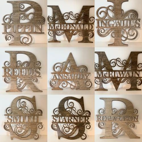 Image of Personalized Wood Monogram Sign