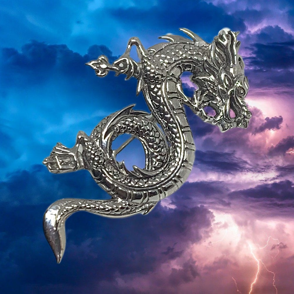 Image of Dragon with Matches Pin Cast in Sterling Silver