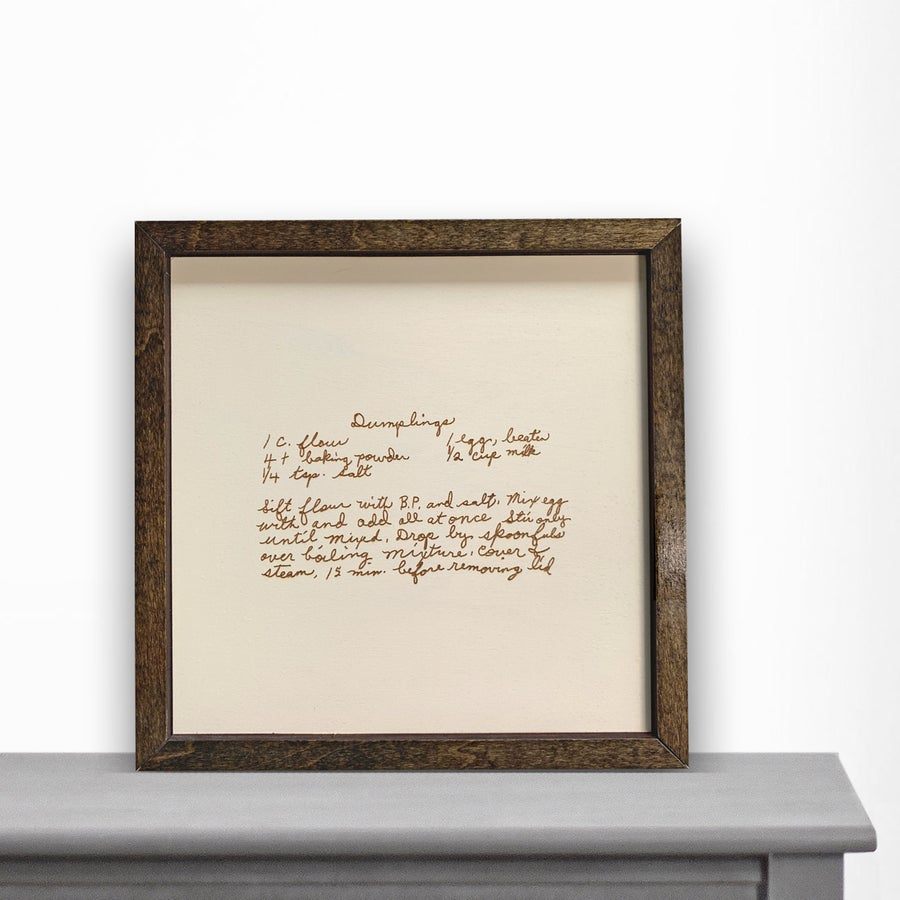 Image of Wooden Engraved Recipe Artwork (or other handwritten note)